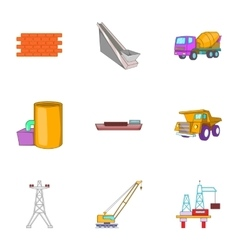 Fabrication icons set cartoon style vector