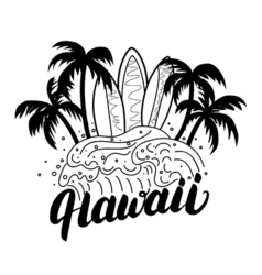 Hawaii hand lettering surf poster tee print vector