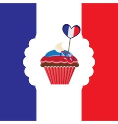 Cupcake in french traditional colors vector