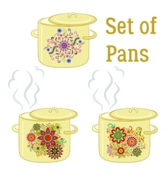 Boiling pans with patterns vector