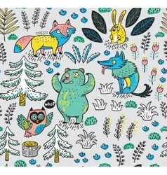 Hand drawn seamless pattern with funny colorful vector image