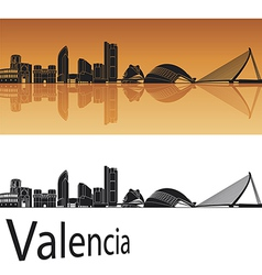 Valencia skyline in orange background vector