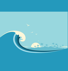 Big ocean wave and tropical island blue background vector