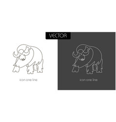 buffalo icon on white and black vector image