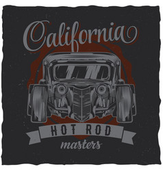 Vintage t-shirt label design with customspeed car vector