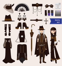 Set with dark goth characters of young sad vector
