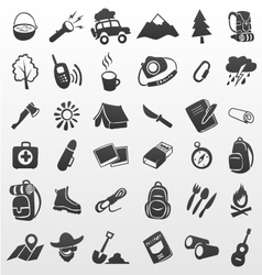 Camping icons travel icons vector image