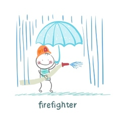 Firefighter stands in the rain with an umbrella vector