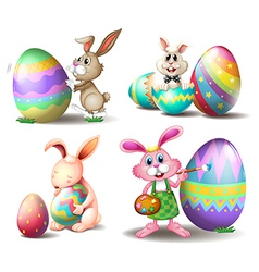 Bunnies with easter eggs vector