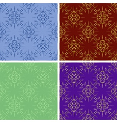 Seamless colored outlines pattern set vector