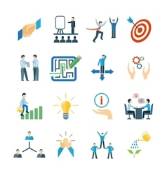 Mentoring icons flat set vector