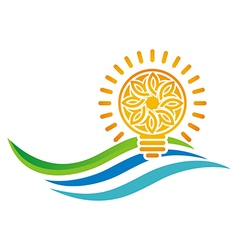 Logo idea of sunset light bulb leaves line symbol vector