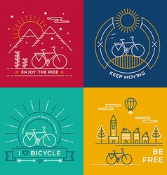 Concept bike line art bicycle set poster nature vector