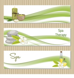 Set of banners with spa theme object vector