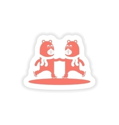 Paper sticker on white background bear skating vector