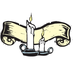 Candle lit scroll vector