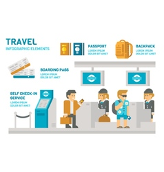 Flat design check-in at airport travel vector