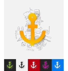 Anchor paper sticker with hand drawn elements vector