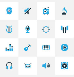 Audio colorful icons set collection of headphone vector