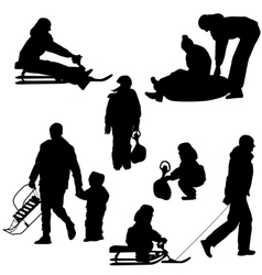 Black silhouettes set people and children with a vector image