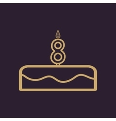 Cake with candles in the form of number 8 icon vector