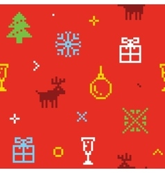 Christmas pixel art seamless background with deers vector