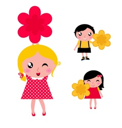 cute kids with flowers vector image vector image