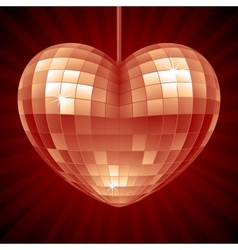 Disco Heart Red mirror disco ball vector image