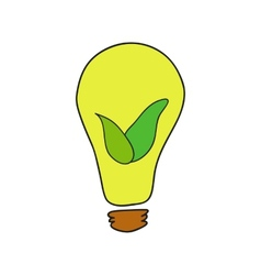 Doodle style bulb with leaves as eco energy symbol vector image