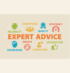expert advice concept with icons vector image vector image