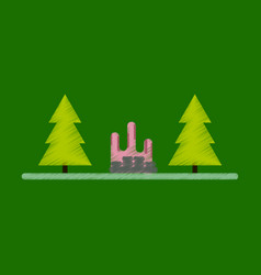 Flat icon in shading style bonfire in forest vector
