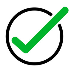 Green tick icon on white background green check vector