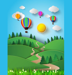 Hot air balloon high in the sky with sunlight vector