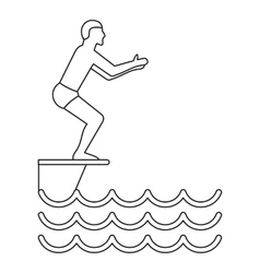 Jumping in a pool icon simple style vector image