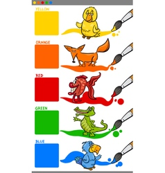 Primary colors with animals vector
