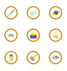 print industry icons set cartoon style vector image vector image
