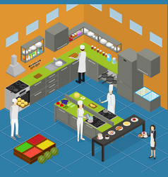 restaurant kitchen interior with furniture vector image vector image