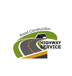 road highway construction service icon vector image