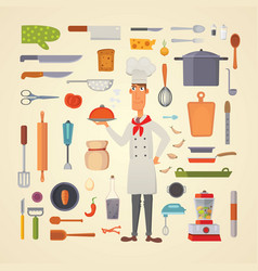 set kitchen shelves and cooking utensils vector image vector image