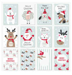 Set of christmas and new year cards vector