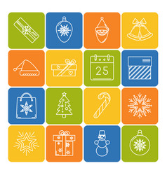 set of christmas icons in thin line style vector image vector image