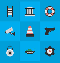 Set of simple criminal icons vector