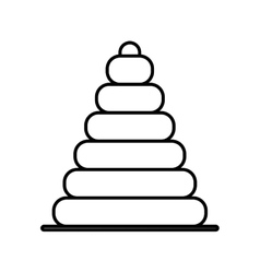 silhouette pyramid toy flat icon vector image vector image