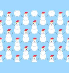 snowmen seamless pattern christmas holiday vector image