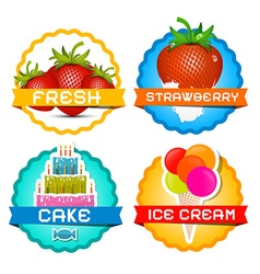 Strawberries - Ice Cream - Cake Strawberry in Milk vector image