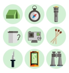 Survival kit flat icons set vector image vector image