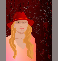 with girl in hat vector image