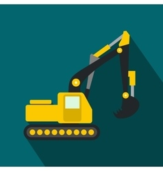 Yellow excavator flat icon vector