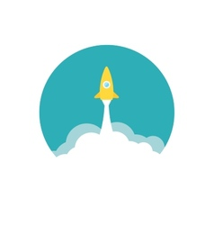 Yellow rocket and white cloud circle icon in flat vector