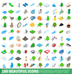 100 beautiful icons set isometric 3d style vector image